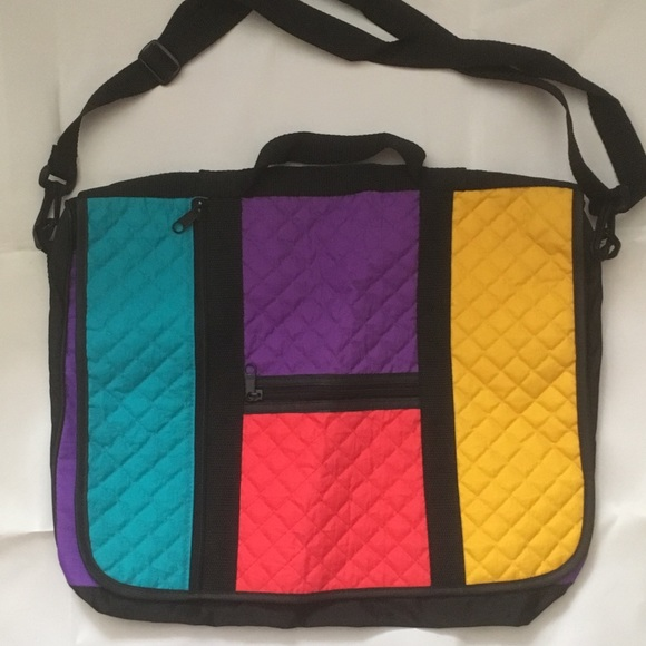 Bright nylon color blocked messenger bag.